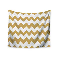 "KESS Original ""Candy Cane Gold"" Chevron Wall Tapestry"