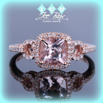 Cushion Cut Morganite Engagement Ring in Diamond Halo Setting 14k Rose Gold