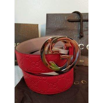 "New Gucci Belt Red Guccissima Print w/ Gold GG Buckle 36""-38"""