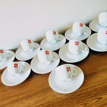 10 Illy Red Logo Cups and Saucers, Illy Espresso Cups, Coffee Bar, Porcelain Demitasse Cups & Saucers