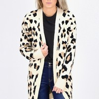 Classic Leopard Open Long Line Cardigan {Taupe Mix}