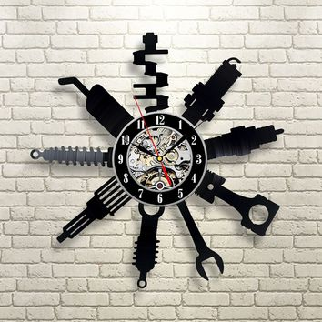 Tools Vinyl Record Wall Clock