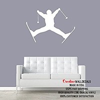Wall Decal Vinyl Sticker Decals Art Decor Design Snow Skiing Ski Sport Mans Gift Extrime Jumping Bedroom Modern Fashion Style (r360)