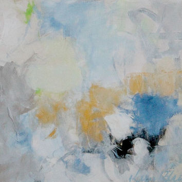 "Light Abstract Painting, Small Original Artwork, Blue, White, Gold, ""Gold Lined Cloud"" 8x10"