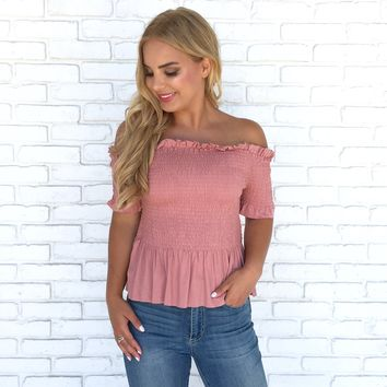 Make A Move Smocked Top in Mauve
