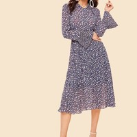 60s Tie Neck Pleated Bell Sleeve Ditsy Dress