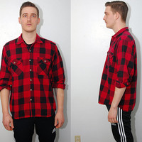 vintage FLANNEL SHIRT (L) red check 90s lumberjack black button-up plaid checker checked large grunge hipster tartan men thick heavy outdoor