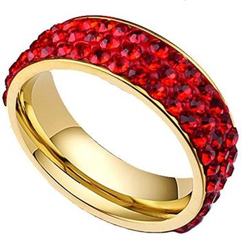 7mm Titanium Stainless Steel 18K Gold Pave Red CZ Cubic Zirconia Wedding Band Engagement Ring
