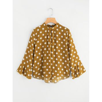 Fluted Sleeve Polka Dot Pleated Front Blouse Mustard