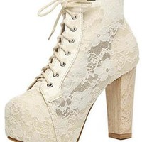 White Lace Chunky Heel Ankle Boots Shoes S005754