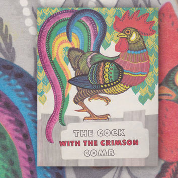The Cock with the crimson comb, Drawings by E. Ovchinnikov (In English). Vintage Children's Book, Paperback, 8''x10'' -- 1981