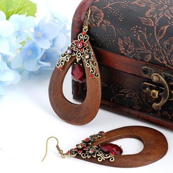 Vintage Handmade Bohemian Oval Wooden Earrings with Bronze Flowers and Waterdrop Bead