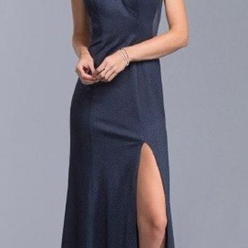 Navy Blue Long Prom Dress Illusion Neckline Cut-Out Back with Slit