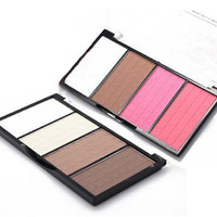 Pop 4 Colors Cosmetic Contour Face Powder Makeup Blush Blusher Palette 3C4