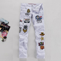 Hot Sale Mosaic Stylish White Slim Pants Jeans [6541738563]