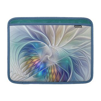 Floral Fantasy, Colorful Abstract Fractal Flower MacBook Air Sleeve