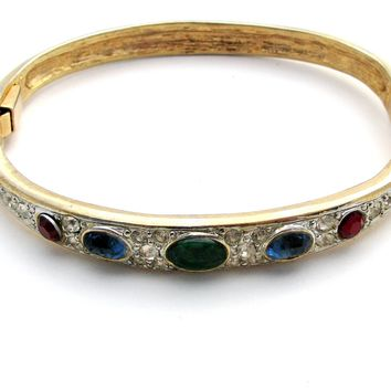 Multi Color Rhinestone Bangle Bracelet Vintage