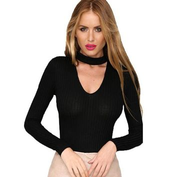 ONETOW High Neck Plunge V Shoulder Ribbed Jumpsuits