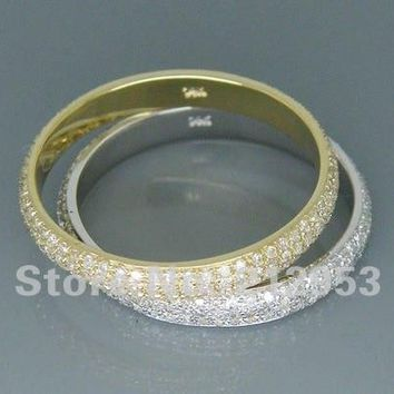 Solid 18kt Two Tone Gold 1.80Ct Pave  Wedding Band Engagement Rings