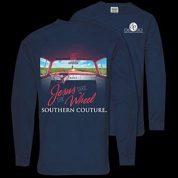 Southern Couture Jesus Take the Wheel Comfort Colors Long Sleeve T-Shirt