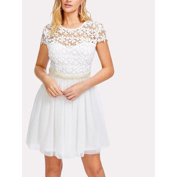 Lace Bodice Bow Tie Back Pearl Detail Dress