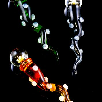 Colored Glass Flower Marble Wand Dab Tool - M241