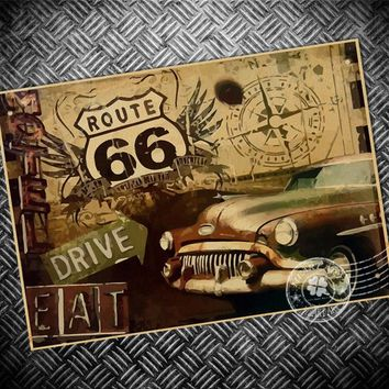 Vintage poster Classic Car USA Route 66 Paint print paper picture Posters retro bar cafe living room wall sticker 42x30cm