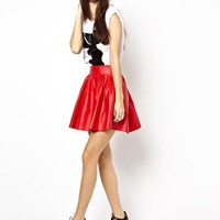 Daisy Street Pleated PU Skirt at asos.com