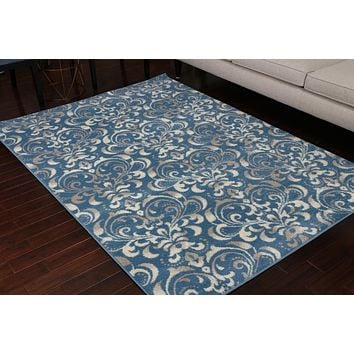 5550 Blue Damask Area Rugs
