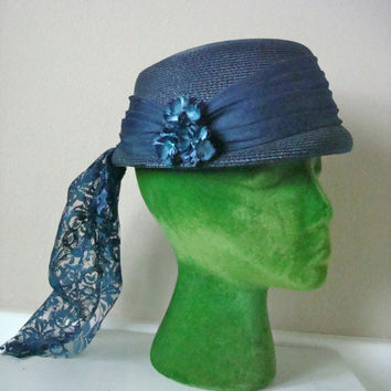 Vintage Blue Hat / 1960s Hat / 60s Hat / Navy Blue Hat