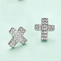925 Silver Korean Stylish Strong Character Cross Rack Accessory Earrings [7495343943]
