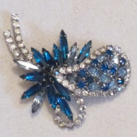 Vintage Rhinestone Brooch - Flower Shaped Rhinestone Brooch - Crystal Clear and Sapphire Blue and Pale Blue Stones