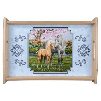 Quarter Horse Mare and Foal Blue Food Trays
