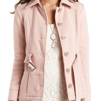 Button-Up Belted Fleece Trench Coat by Charlotte Russe