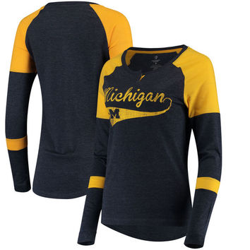 Michigan Wolverines Colosseum Women's Routine Raglan Henley Long Sleeve T-Shirt - Navy