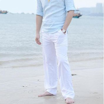 Men's Summer Casual Pants Natural Cotton Linen Trousers