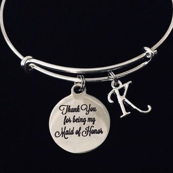 Thank You For Being My Maid of Honor Adjustable Bracelet Expandable Silver Wire Bangle Wedding Shower Bridal Trendy Proposal One Size Fits All Gift