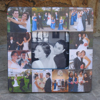 """Unique Wedding Gift, Personalized Wedding Picture Frame, Custom Collage Picture Frame, Unique Engagement Gift, Parent's Gift, 8"""" x 8"""""""