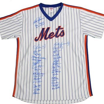 1986 New York Mets World Series Champs Team Signed Autographed Baseball Jersey (PSA/DNA COA)