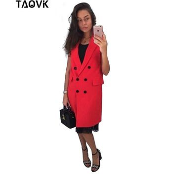 TAOVK   new fashion Russian style women Autumn Vest Red White Pink and Yellow lapel solid color vest coat