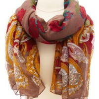 Floral & Paisley Print Scarf by Charlotte Russe - Red Combo