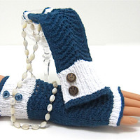 Custom PreOrder Fingerless Massage Gloves 'NAVY by JanetLongArts