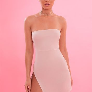 Nude Crepe Split Side Bandeau Bodycon Dress