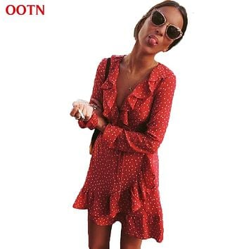 OOTN Ruffled Polka Dot Dress Women Long Sleeve V-Neck Mini Dresses Female Spring Winter Short Fashion Sexy Red Black Blue