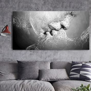 Fashion New Black & White Love Kiss Abstract Art on Canvas Painting Wall Art Picture Print Home Decor