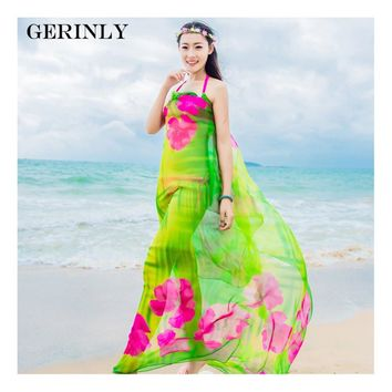 GERINLY Sarong Beach Pareo Hibiscus Print Chiffon Scarf Hawaiian Dresses Sexy Women Bikini Cover Up Wrap Hijab Plus Size Scarves