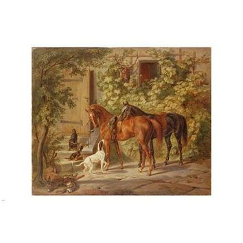 Adam Albrecht Horses at the Porch FINE ART POSTER 24X36 prized Painting
