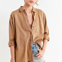 UO Brendan Button-Down Linen Shirt | Urban Outfitters