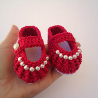 Baby girl red shoes, Crochet shoes, Custom baby shoes, fashion baby shoes, baby accessories - Newborn to 3 months