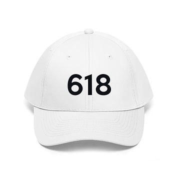 Illinois 618 Area Code Embroidered Twill Hat BLACK